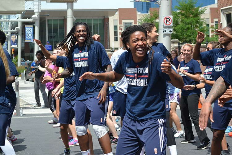 Fever players get pumped up for the zumba Workout Wednesday class