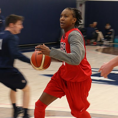 Tamika Catchings with USA Basketball
