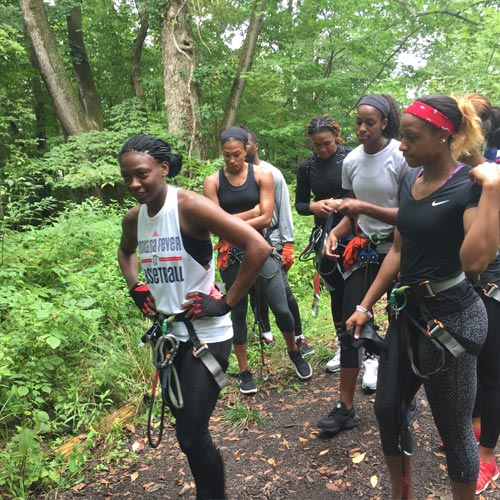 Indiana Fever at zip line course