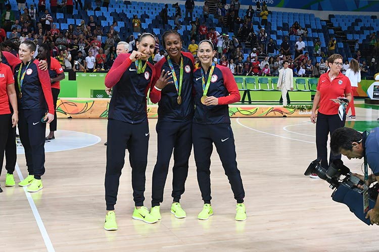 Diana Taurasi, Tamika Catchings, and Sue Bird