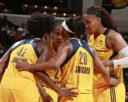 INDIANAPOLIS, IN - AUGUST 27:  The Indiana Fever huddle during the game against the Washington Mystics on August 27, 2016 at Bankers Life Fieldhouse in Indianapolis, Indiana. NOTE TO USER: User expressly acknowledges and agrees that, by downloading and or using this Photograph, user is consenting to the terms and conditions of the Getty Images License Agreement. Mandatory Copyright Notice: Copyright 2016 NBAE (Photo by Jeff Haynes/NBAE via Getty Images)