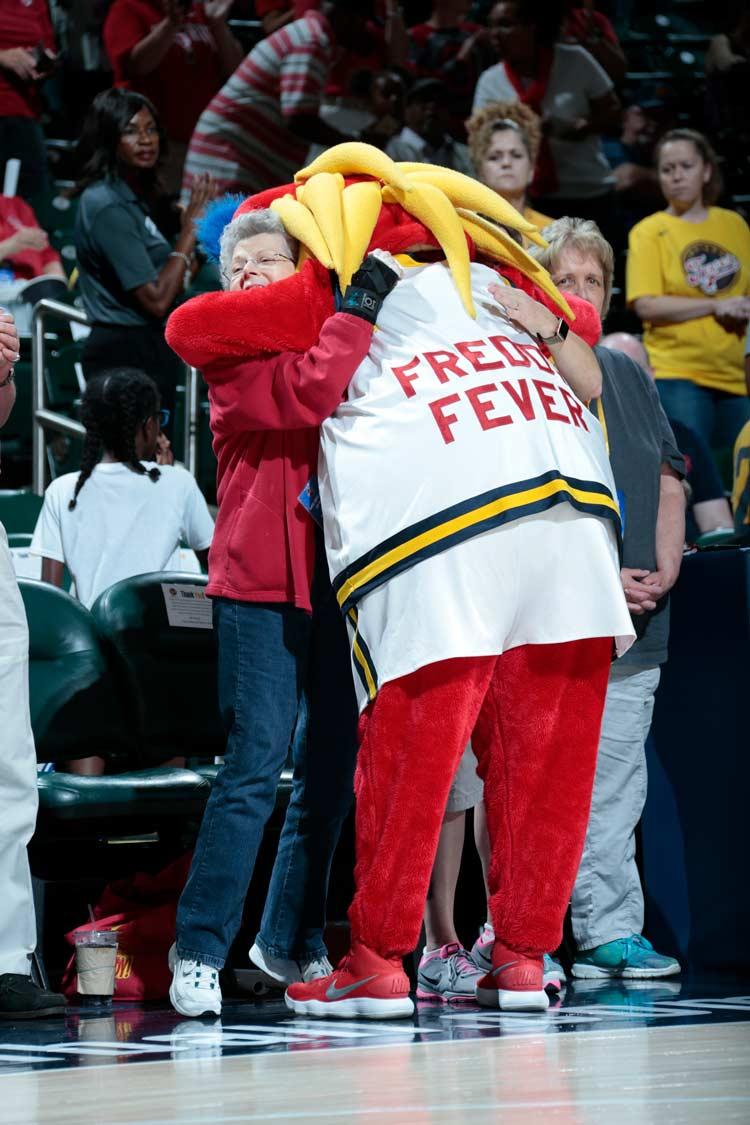 Freddy Fever hugs fan