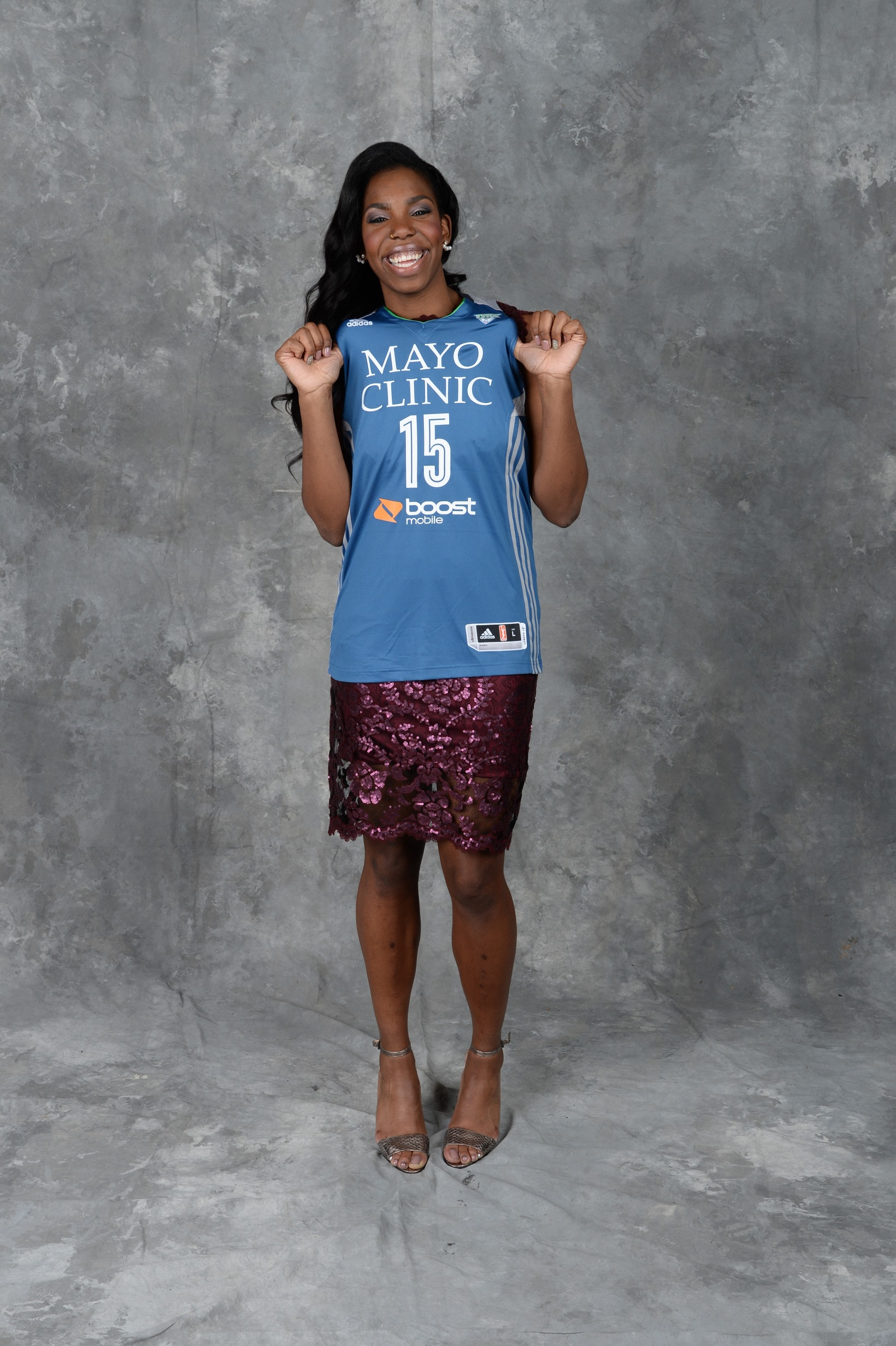 UNCASVILLE, CT - APRIL 16: The number sixteen overall pick  Reshanda Gray of the Minnesota Lynx poses for a portrait during the 2015 WNBA Draft Presented By State Farm on April 16, 2015 at Mohegan Sun Arena in Uncasville, Connecticut.  NOTE TO USER: User expressly acknowledges and agrees that, by downloading and/or using this Photograph, user is consenting to the terms and conditions of the Getty Images License Agreement. Mandatory Copyright Notice: Copyright 2015 NBAE  (Photo by Jennifer Pottheiser/NBAE via Getty Images)
