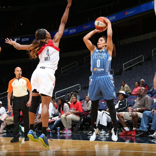 Lynx guard Jennifer O' Neill had an up-and-down game against the Mystics, scoring seven points and collecting three rebounds, but while also committing three turnovers.
