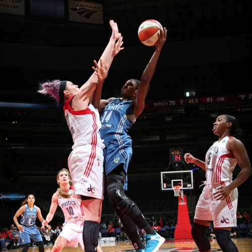 Lynx forward Devereaux Peters scored just four points against the Mystics, but grabbed six rebounds and had two steals.