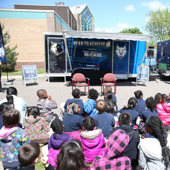 MINNEAPOLIS, MN - MAY 19:  Monica Wright and Damiris Dantas of the Minnesota Lynx host a Reading Time-Out for third grade students on May 19, 2015 at Jenny Lind Elementary School in Minneapolis, Minnesota.  NOTE TO USER: User expressly acknowledges and agrees that, by downloading and or using this Photograph, user is consenting to the terms and conditions of the Getty Images License Agreement. Mandatory Copyright Notice: Copyright 2015 NBAE (Photo by David Sherman/NBAE via Getty Images)