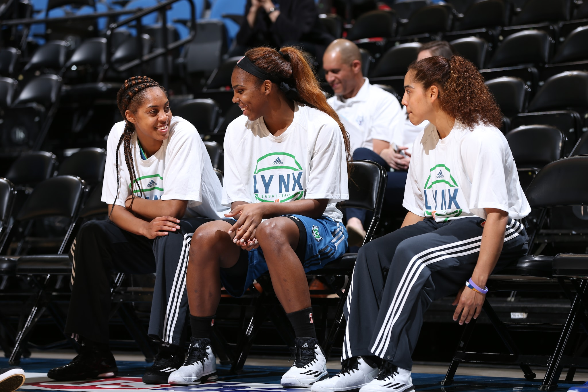 MINNEAPOLIS, MN - JUNE 1:  Members of the Minnesota Lynx prepare to play against the New York Liberty on June 1, 2015 at Target Center in Minneapolis, Minnesota. NOTE TO USER: User expressly acknowledges and agrees that, by downloading and or using this Photograph, user is consenting to the terms and conditions of the Getty Images License Agreement. Mandatory Copyright Notice: Copyright 2015 NBAE (Photo by David Sherman/NBAE via Getty Images)