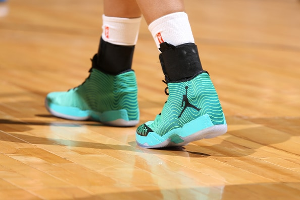 MINNEAPOLIS, MN - JUNE 5:  The shoes of Maya Moore #23 of the Minnesota Lynx are seen against the Tulsa Shock during the season opener of their WNBA game on June 5, 2015 at Target Center in Minneapolis, Minnesota. NOTE TO USER: User expressly acknowledges and agrees that, by downloading and or using this Photograph, user is consenting to the terms and conditions of the Getty Images License Agreement. Mandatory Copyright Notice: Copyright 2015 NBAE (Photo by David Sherman/NBAE via Getty Images)
