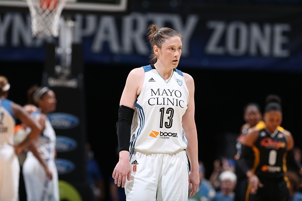 MINNEAPOLIS, MN - JUNE 5:  Lindsay Whalen #13 of the Minnesota Lynx looks on against the Tulsa Shock during the season opener of their WNBA game on June 5, 2015 at Target Center in Minneapolis, Minnesota. NOTE TO USER: User expressly acknowledges and agrees that, by downloading and or using this Photograph, user is consenting to the terms and conditions of the Getty Images License Agreement. Mandatory Copyright Notice: Copyright 2015 NBAE (Photo by David Sherman/NBAE via Getty Images)