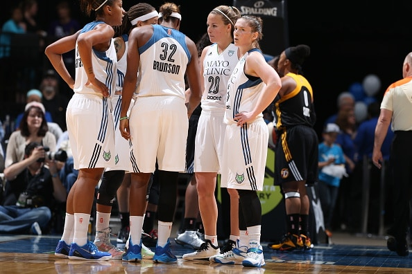 MINNEAPOLIS, MN - JUNE 5:  The Minnesota Lynx huddle against the Tulsa Shock during the season opener of their WNBA game on June 5, 2015 at Target Center in Minneapolis, Minnesota. NOTE TO USER: User expressly acknowledges and agrees that, by downloading and or using this Photograph, user is consenting to the terms and conditions of the Getty Images License Agreement. Mandatory Copyright Notice: Copyright 2015 NBAE (Photo by David Sherman/NBAE via Getty Images)