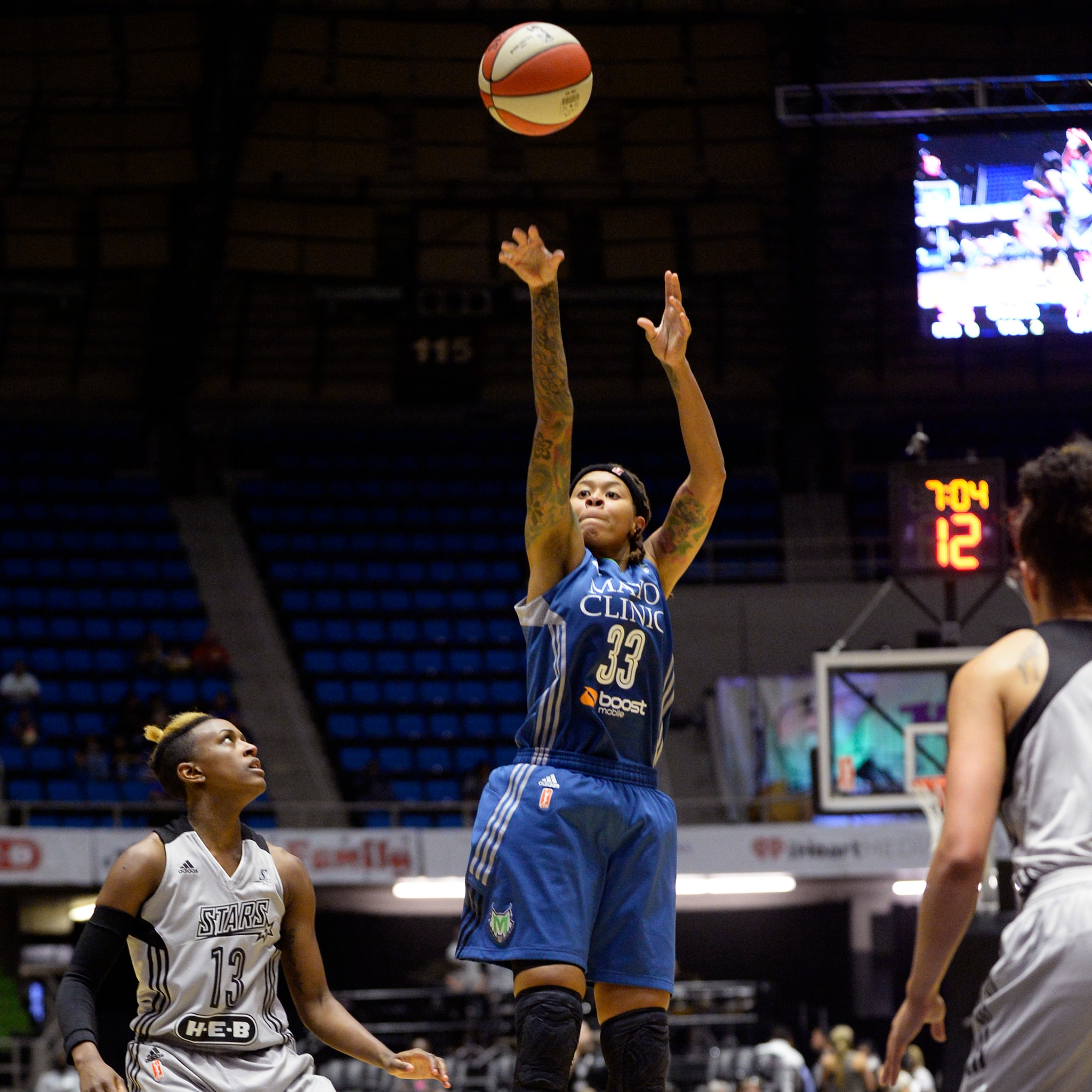 Lynx guard Seimone Augustus led the Lynx scoring a game-high 18 points while adding two rebounds and four assists.