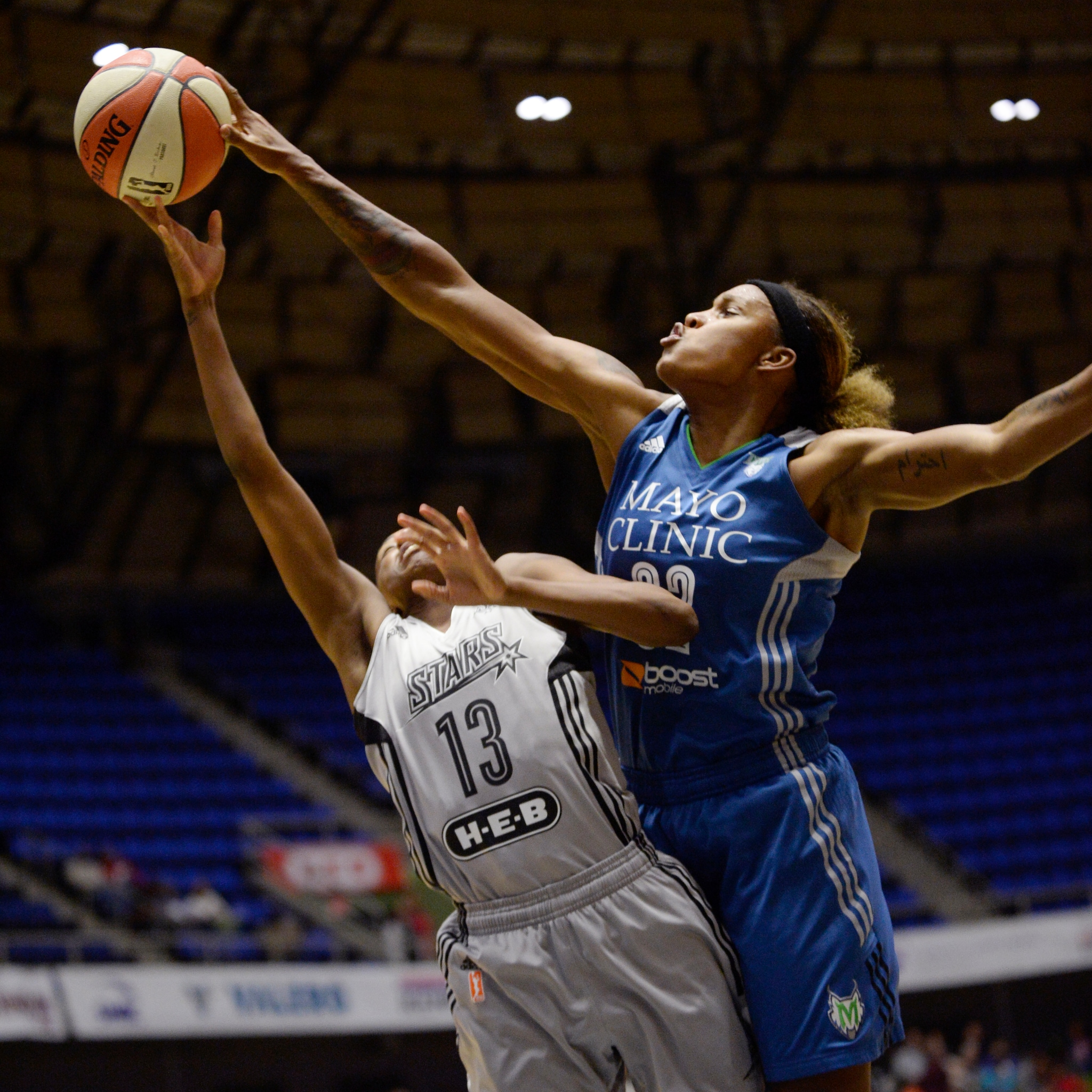 Lynx forward Rebekkah Brunson blocks one of her game-high five blocked shots.