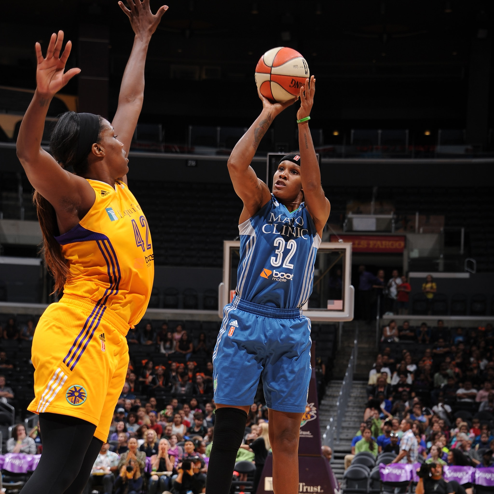 Lynx forward Rebekkah Brunson was on a hot streak entering Tuesday night, but the Sparks cooled her off.  Brunson finished with just two points and seven rebounds, her lowest totals in a game this season.