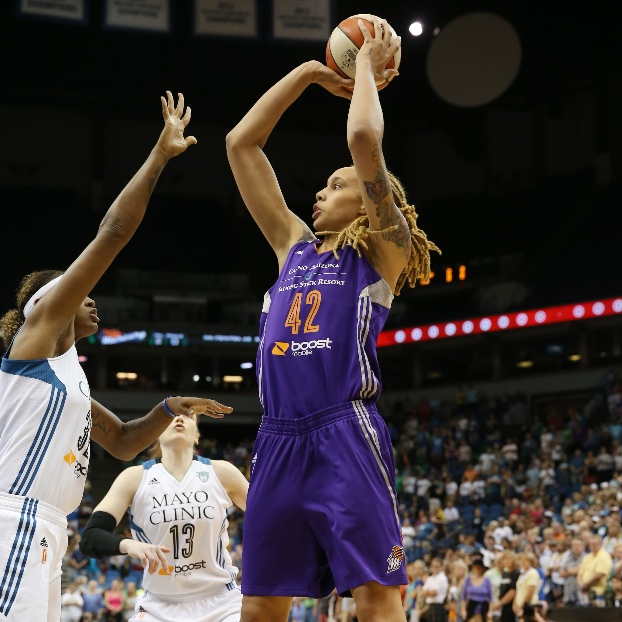 In her first game back from her seven-game suspension, Mercury center Brittney Griner scored 14 points and grabbed 11 rebounds while adding two blocked shots as well.