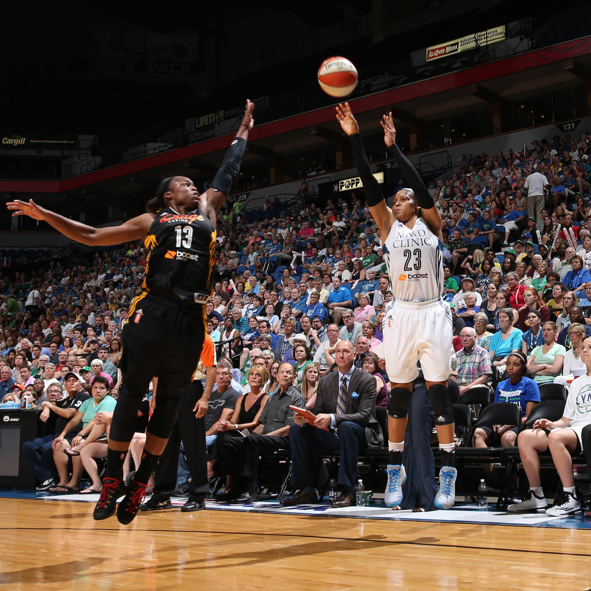 Despite nine early points, Lynx forward Maya Moore could only manage seven points through the final three quarters of the game.