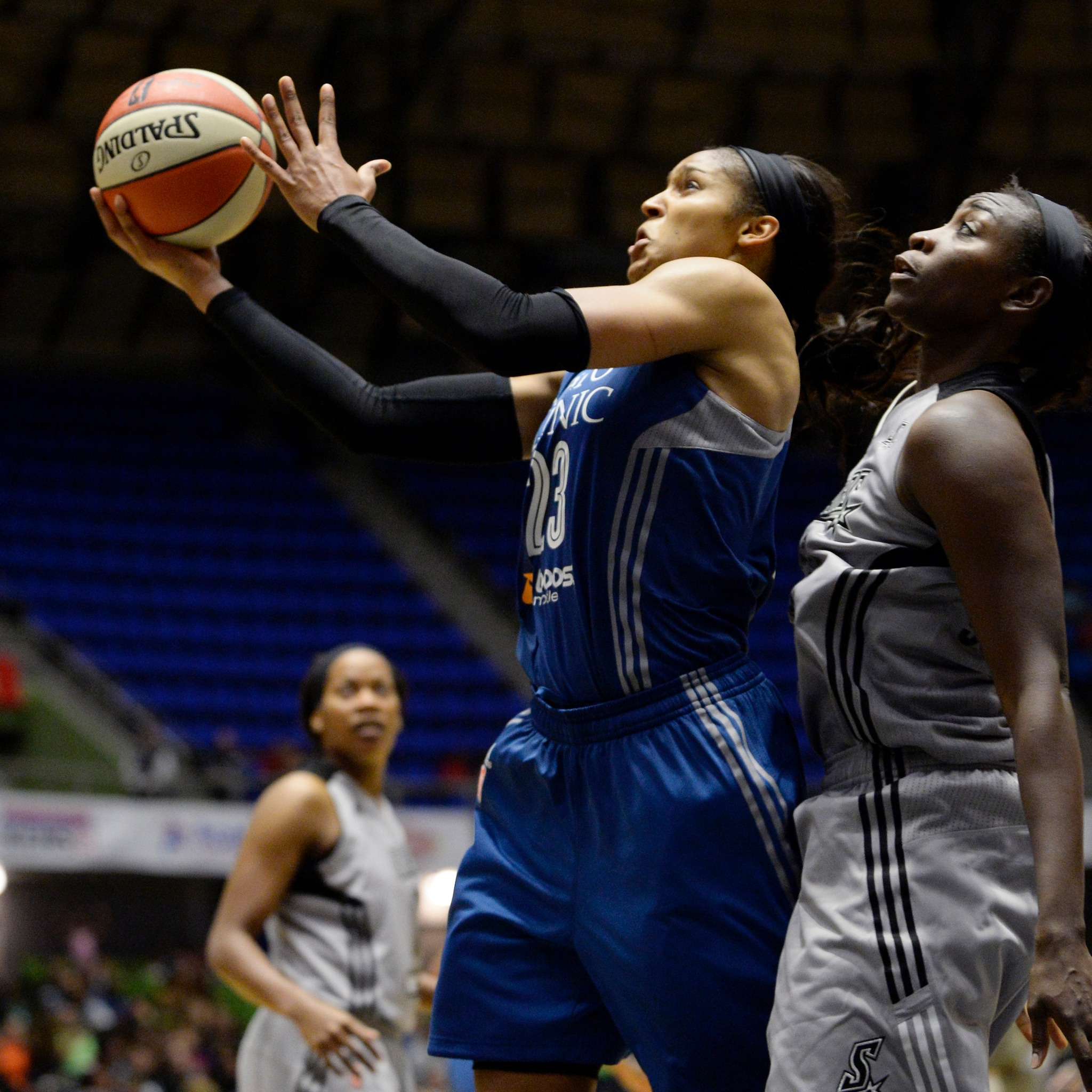 Lynx forward Maya Moore goes up for two of her 14 points. Moore also had four rebounds, two assists and five steals.