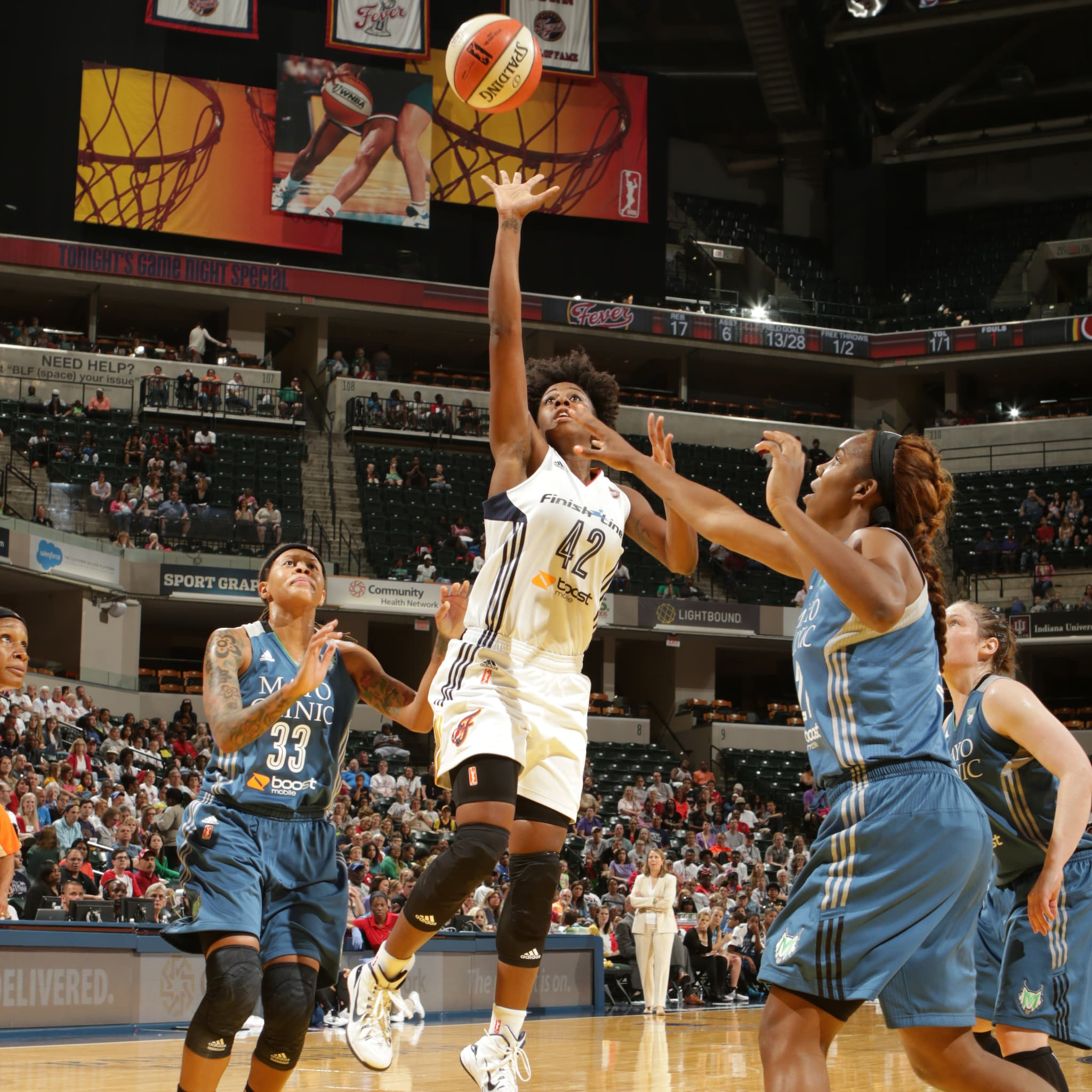 Fever guard Shenise Johnson lays in two of her 15 points. Johnson also added five rebounds in 25 minutes off the bench.