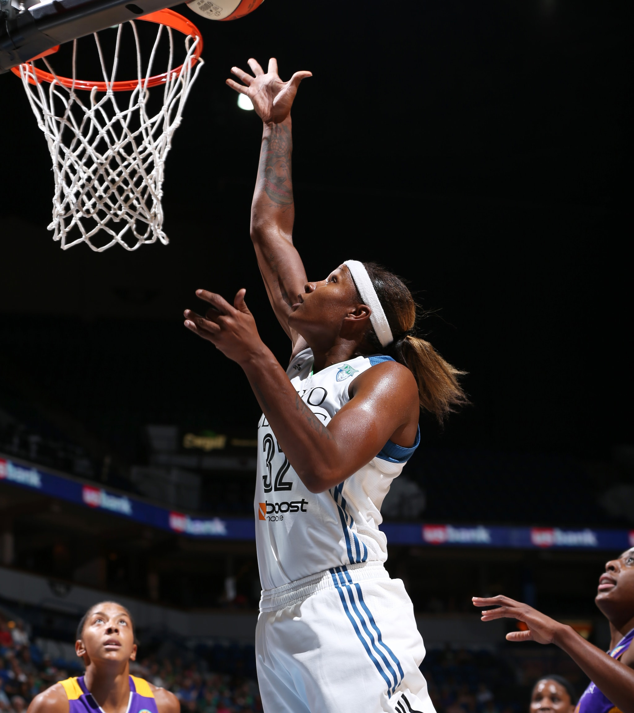 Lynx forward Rebekkah Brunson had a quiet night offensively, finishing with just three points and seven rebounds, but played well defensively keeping Sparks star Candace Parker in-check and snatching three steals.