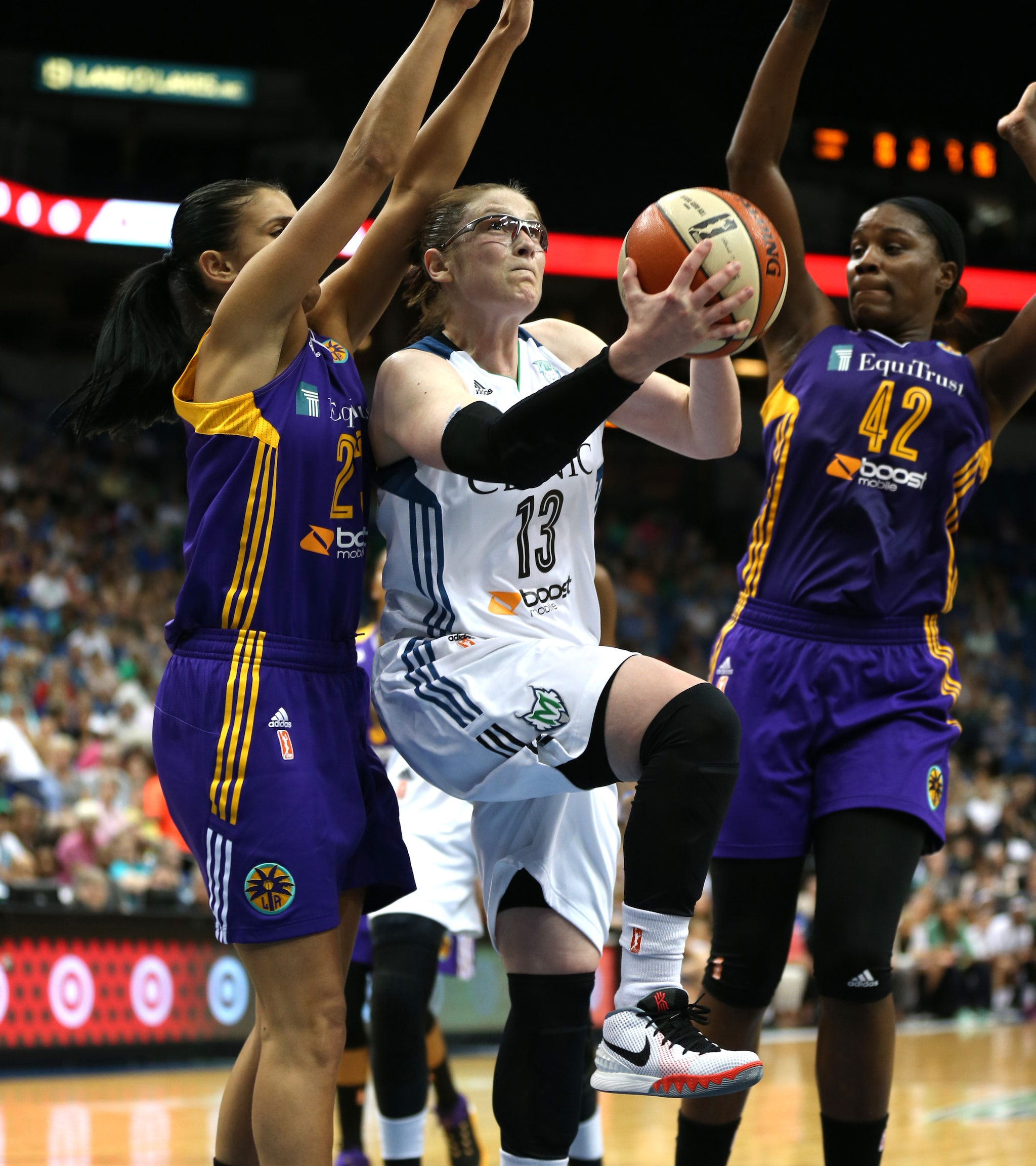 Lynx guard Lindsay Whalen was spectacular against the Sparks. Playing in her first game back from an eye injury, Whalen made dazzling passes, showed great leadership and scored timely baskets, including a jaw-dopping reverse layup that ignited the Target Center. Whalen finished with 24 points and six assists.