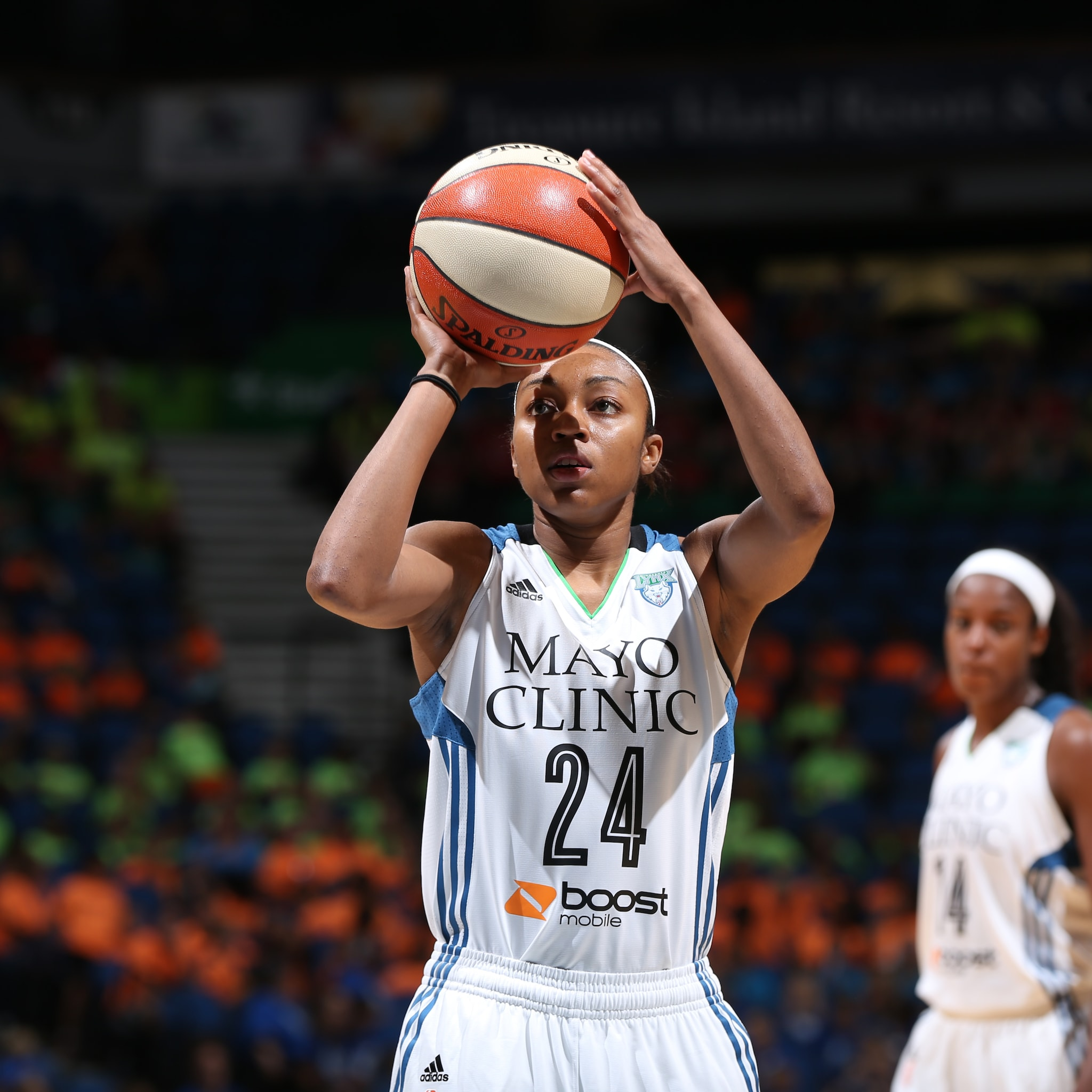 MINNEAPOLIS, MN - JULY 22: Renee Montgomery #24 of the Minnesota Lynx attempts a free throw against the Connecticut Sun on July 22, 2015 at Target Center in Minneapolis, Minnesota. NOTE TO USER: User expressly acknowledges and agrees that, by downloading and or using this Photograph, user is consenting to the terms and conditions of the Getty Images License Agreement. Mandatory Copyright Notice: Copyright 2015 NBAE (Photo by David Sherman/NBAE via Getty Images)