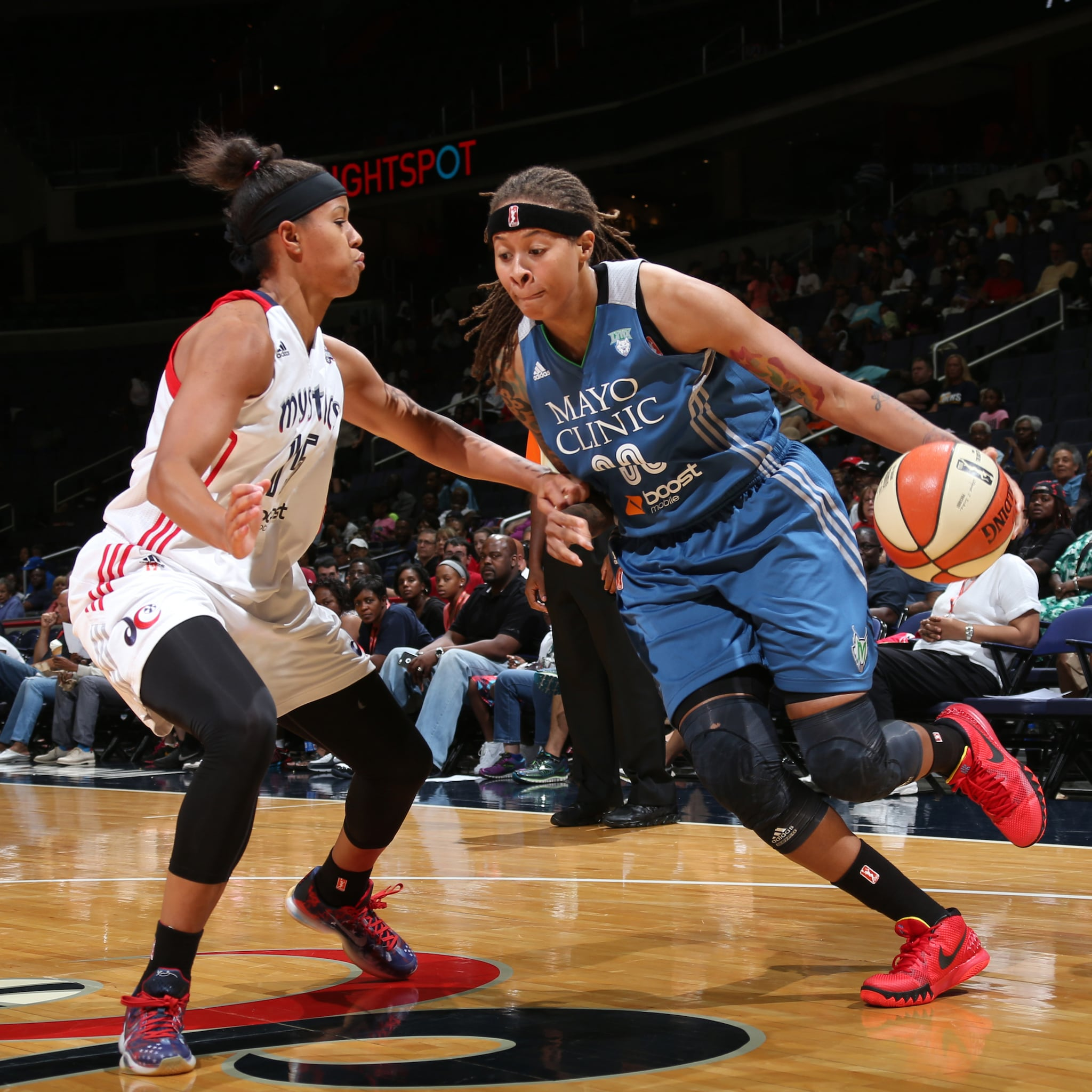 Lynx guard Seimone Augustus, playing in just her second game back from a knee injury, struggled against the Mystics, scoring just four points and grabbing  three rebounds in 23 minutes of playing time.