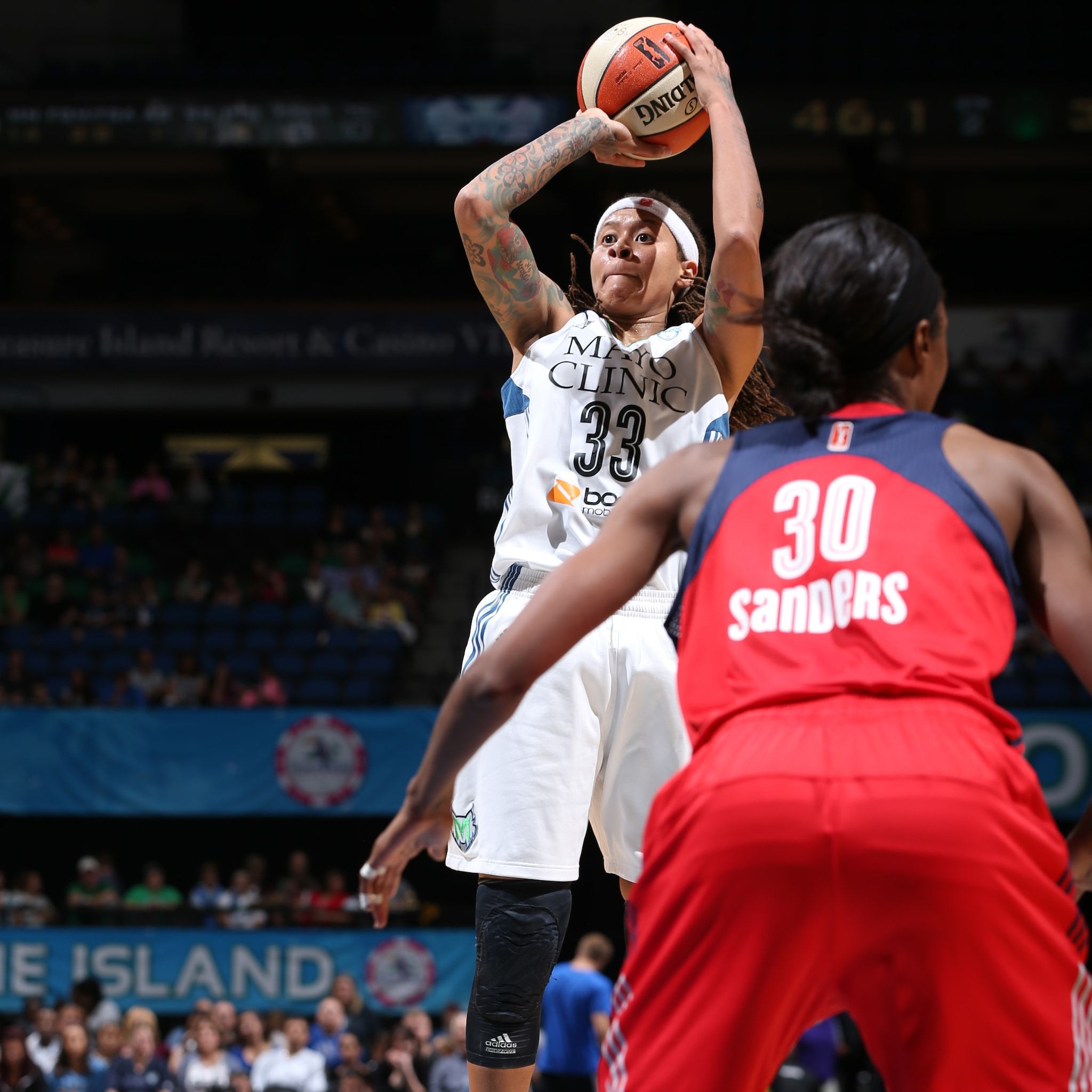 Lynx guard Seimone Augustus, playing in her first home game since a knee injury caused her to miss a month, played well for Minnesota, finishing with  11 points and two rebounds in Minnesota's 79-61 loss to the Washington Mystics.