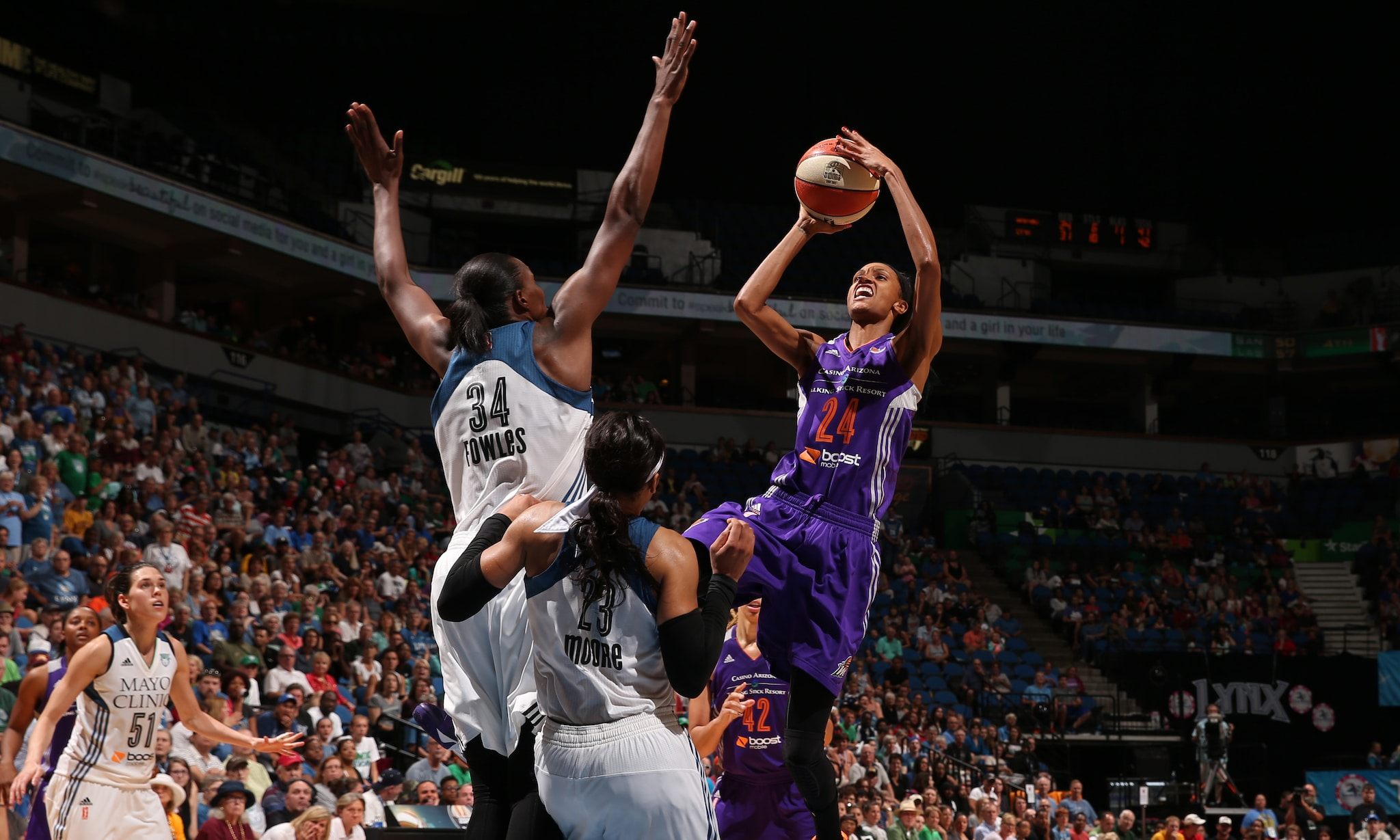 Mercury forward DeWanna Bonner entered Sunday night's game as the fifth-leading scorer in the league and finished with  15 points, six rebounds and four assists.