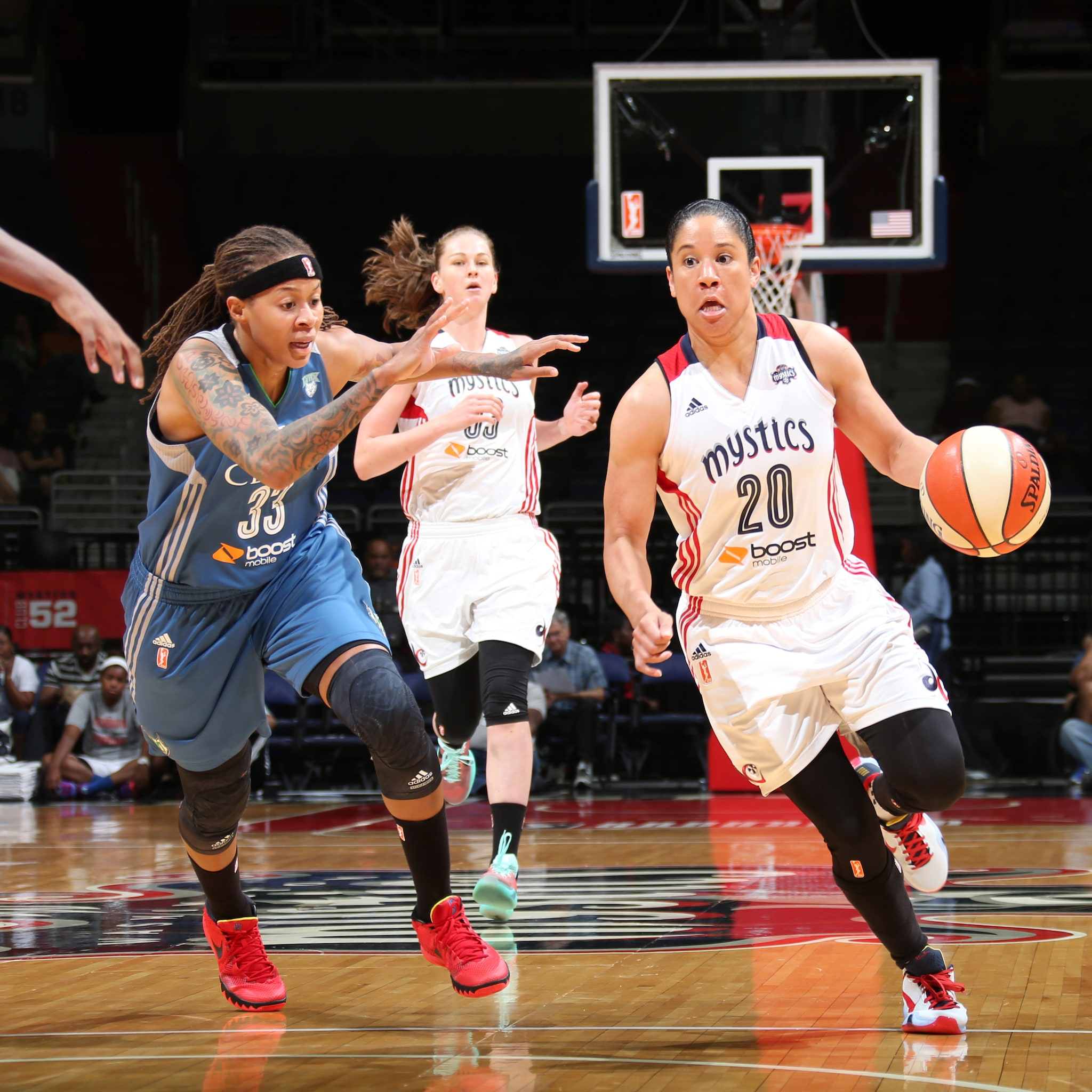 Mystics guard Kara Lawson had a solid game against the Lynx, finishing with 15 points, four rebounds and two assists.