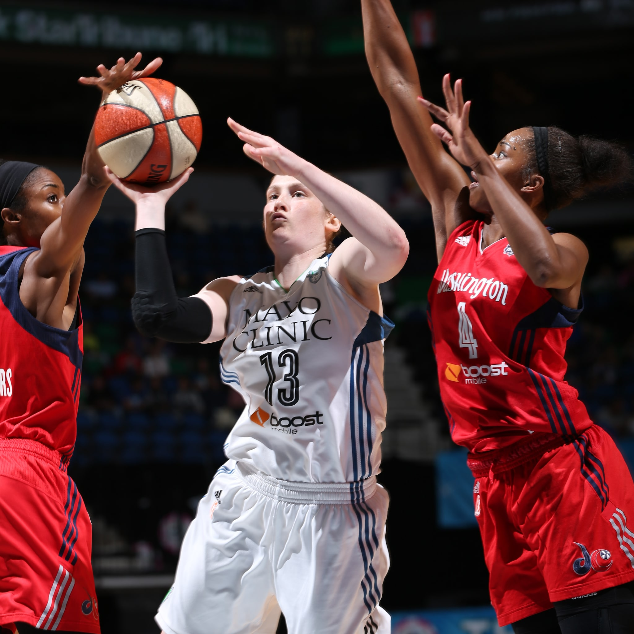 Lynx guard Lindsay Whalen had a rather quiet night, finishing with just four points, four rebounds and three assists.