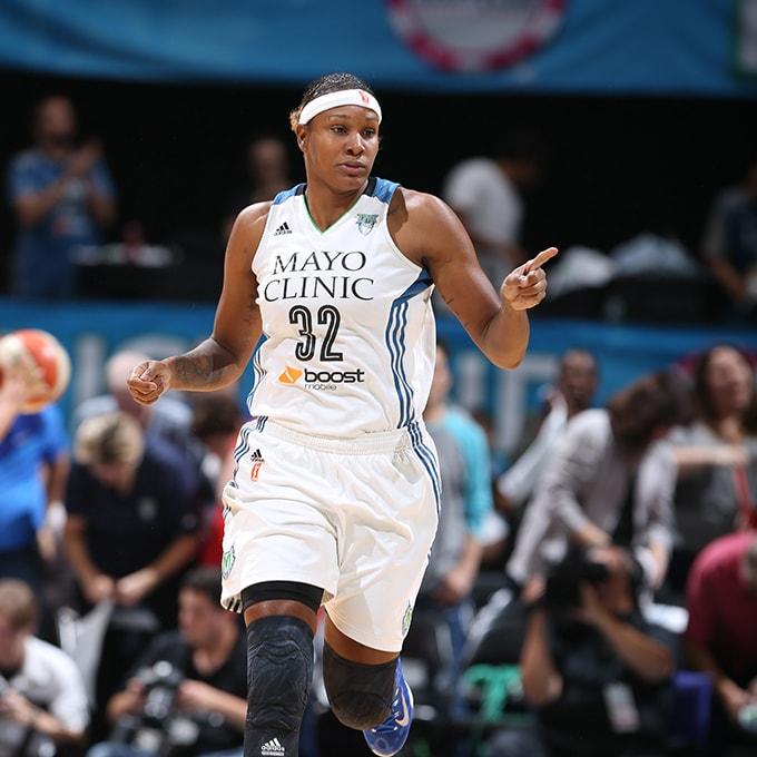 MINNEAPOLIS, MN - SEPTEMBER 22:  Rebekkah Brunson #32 of the Minnesota Lynx during the game against the Los Angeles Sparks during Game 3 of the 2015 WNBA Western Conference Semifinal on September 22, 2015 at Target Center in Minneapolis, Minnesota.  NOTE TO USER: User expressly acknowledges and agrees that, by downloading and or using this Photograph, user is consenting to the terms and conditions of the Getty Images License Agreement. Mandatory Copyright Notice: Copyright 2015 NBAE (Photo by David Sherman/NBAE via Getty Images)