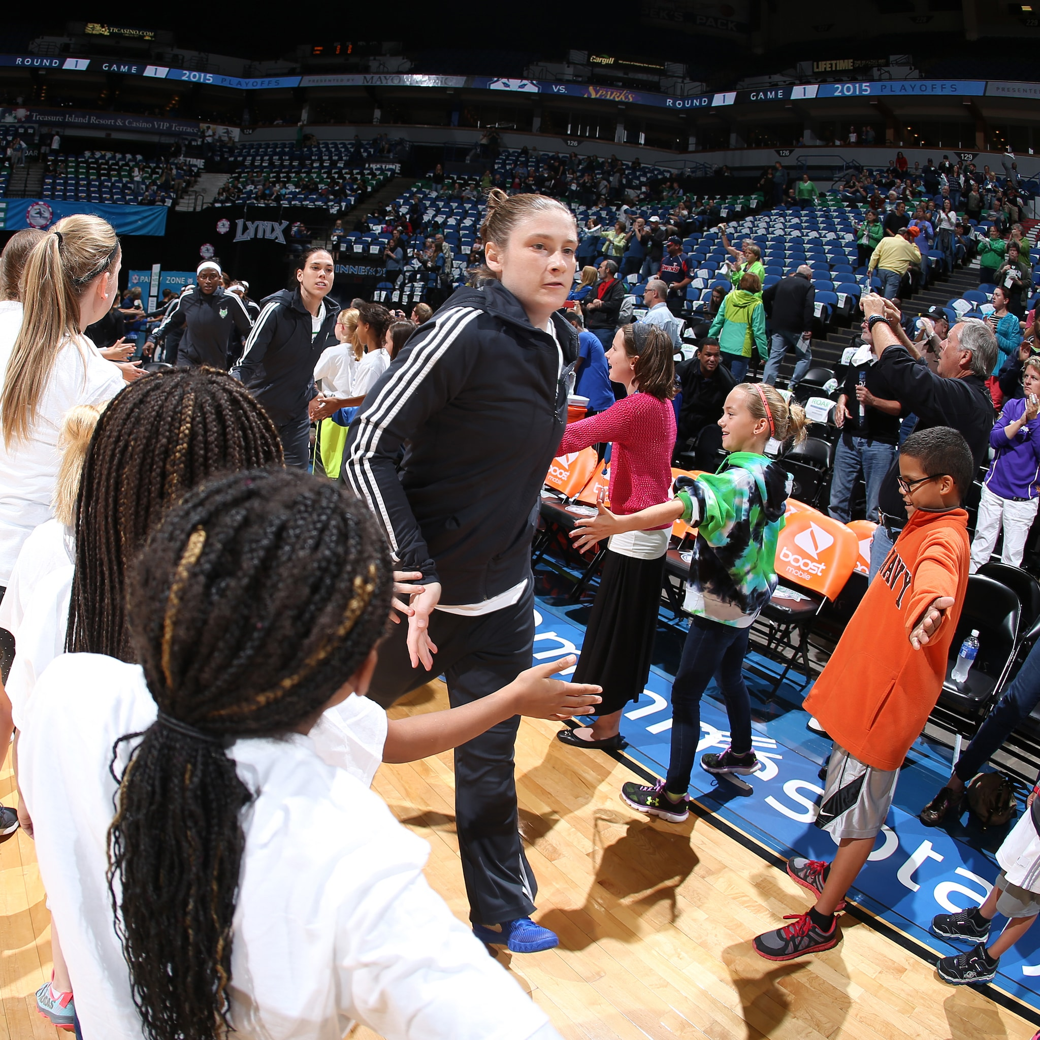 MINNEAPOLIS, MN - SEPTEMBER 18:  Lindsay Whalen #13 of the Minnesota Lynx gets introduced before the game against the Los Angeles Sparks in Game 1 of the 2015 WNBA Western Conference Semifinal on September 18, 2015 at Target Center in Minneapolis, Minnesota.  NOTE TO USER: User expressly acknowledges and agrees that, by downloading and or using this Photograph, user is consenting to the terms and conditions of the Getty Images License Agreement. Mandatory Copyright Notice: Copyright 2015 NBAE (Photo by David Sherman/NBAE via Getty Images)
