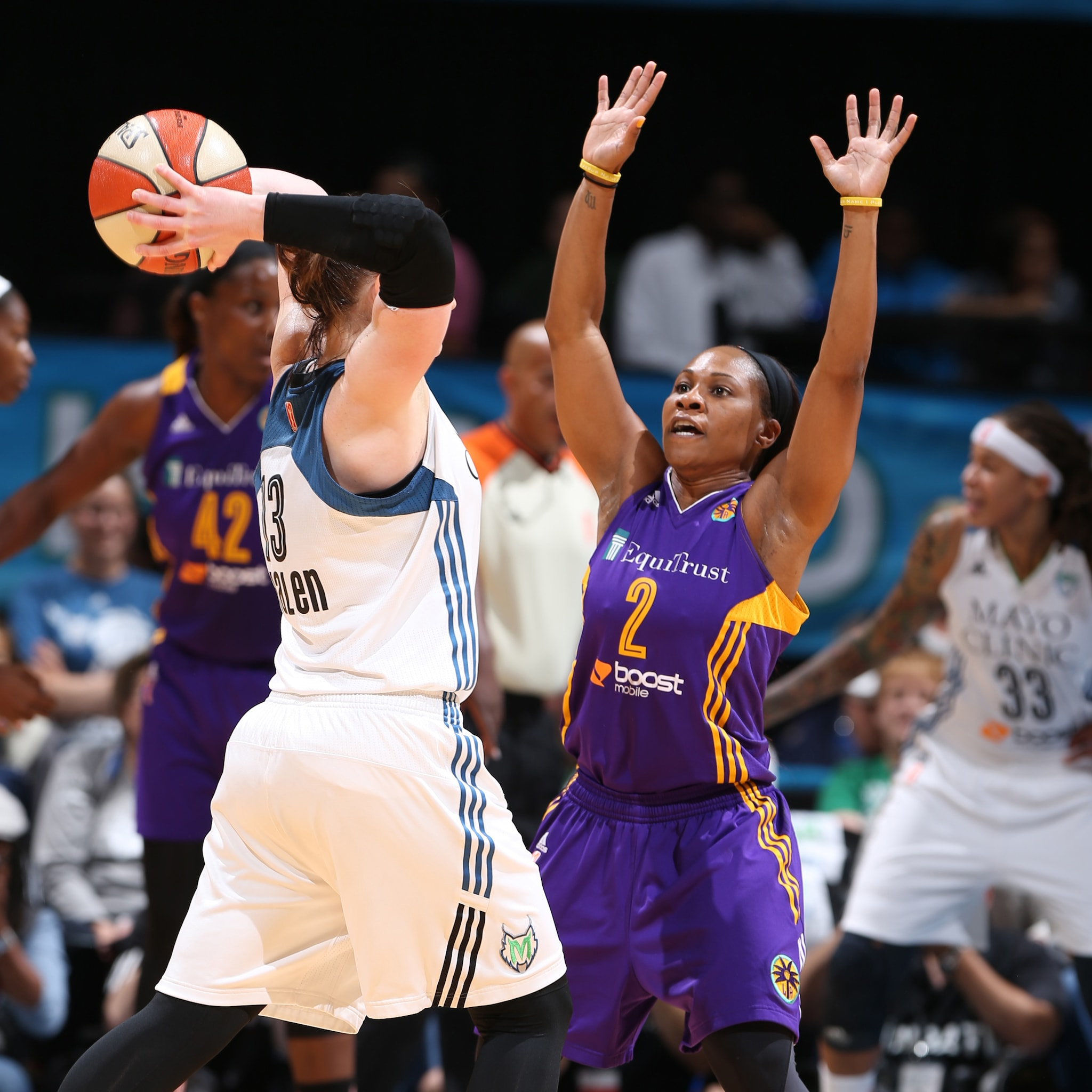 MINNEAPOLIS, MN - SEPTEMBER 18:  Temeka Johnson #2 of the Los Angeles Sparks defends against the Minnesota Lynx during Game 1 of the 2015 WNBA Western Conference Semifinal on September 18, 2015 at Target Center in Minneapolis, Minnesota.  NOTE TO USER: User expressly acknowledges and agrees that, by downloading and or using this Photograph, user is consenting to the terms and conditions of the Getty Images License Agreement. Mandatory Copyright Notice: Copyright 2015 NBAE (Photo by David Sherman/NBAE via Getty Images)