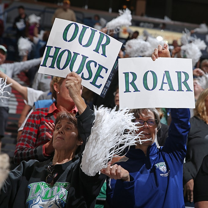 MINNEAPOLIS, MN - SEPTEMBER 24:  Minnesota Lynx fans hold up signs during Game One of the WNBA Western Conference Finals against the Phoenix Mercury on September 24, 2015 at Target Center in Minneapolis, Minnesota.  NOTE TO USER: User expressly acknowledges and agrees that, by downloading and or using this Photograph, user is consenting to the terms and conditions of the Getty Images License Agreement. Mandatory Copyright Notice: Copyright 2015 NBAE (Photo by David Sherman/NBAE via Getty Images)