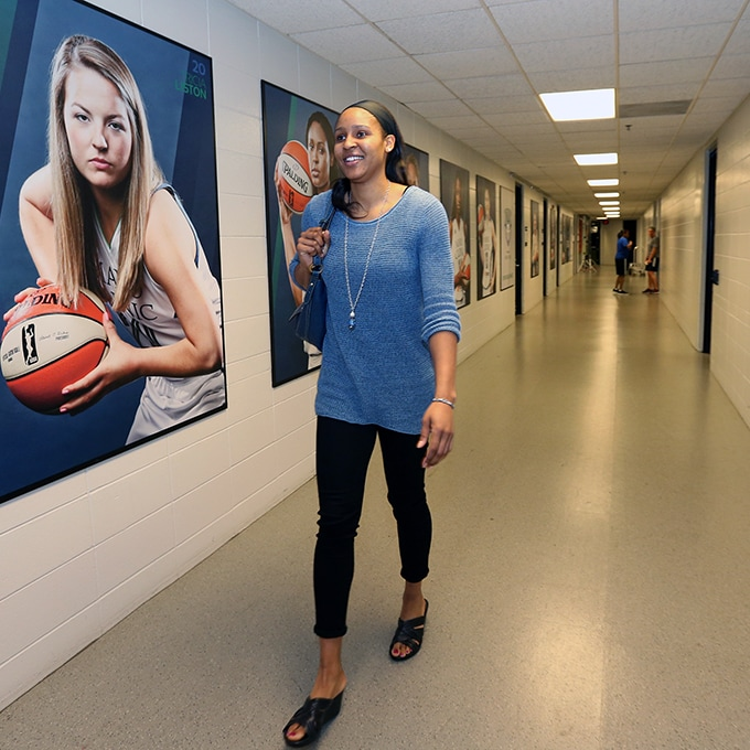 MINNEAPOLIS, MN - SEPTEMBER 22:  Maya Moore #23 of the Minnesota Lynx arrives at the areana before the game against the Los Angeles Sparks in Game 3 of the 2015 WNBA Western Conference Semifinal on September 22, 2015 at Target Center in Minneapolis, Minnesota.  NOTE TO USER: User expressly acknowledges and agrees that, by downloading and or using this Photograph, user is consenting to the terms and conditions of the Getty Images License Agreement. Mandatory Copyright Notice: Copyright 2015 NBAE (Photo by David Sherman/NBAE via Getty Images)