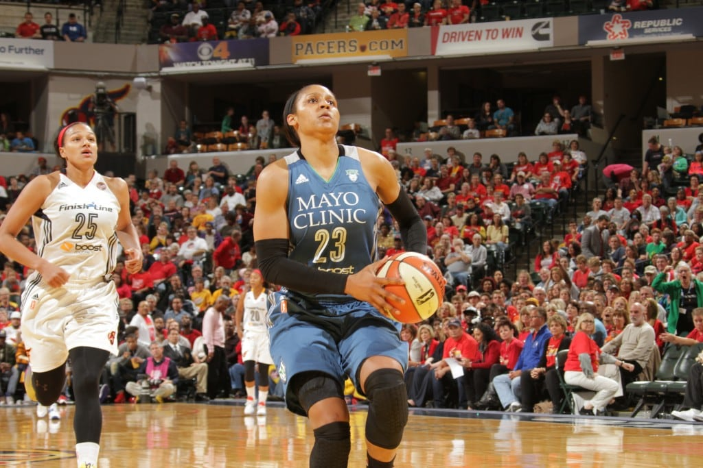 Maya Moore #23 of the Minnesota Lynx drives to the basket against the Indiana Fever during Game Three of the 2015 WNBA Finals