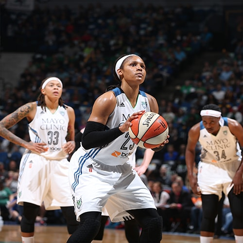 MINNEAPOLIS, MN - OCTOBER 6:  Maya Moore #23 of the Minnesota Lynx shoots a free throw against the Indiana Fever during Game Two of the 2015 WNBA Finals on October 6, 2015 at Target Center in Minneapolis, Minnesota.  NOTE TO USER: User expressly acknowledges and agrees that, by downloading and or using this Photograph, user is consenting to the terms and conditions of the Getty Images License Agreement. Mandatory Copyright Notice: Copyright 2015 NBAE (Photo by David Sherman/NBAE via Getty Images)