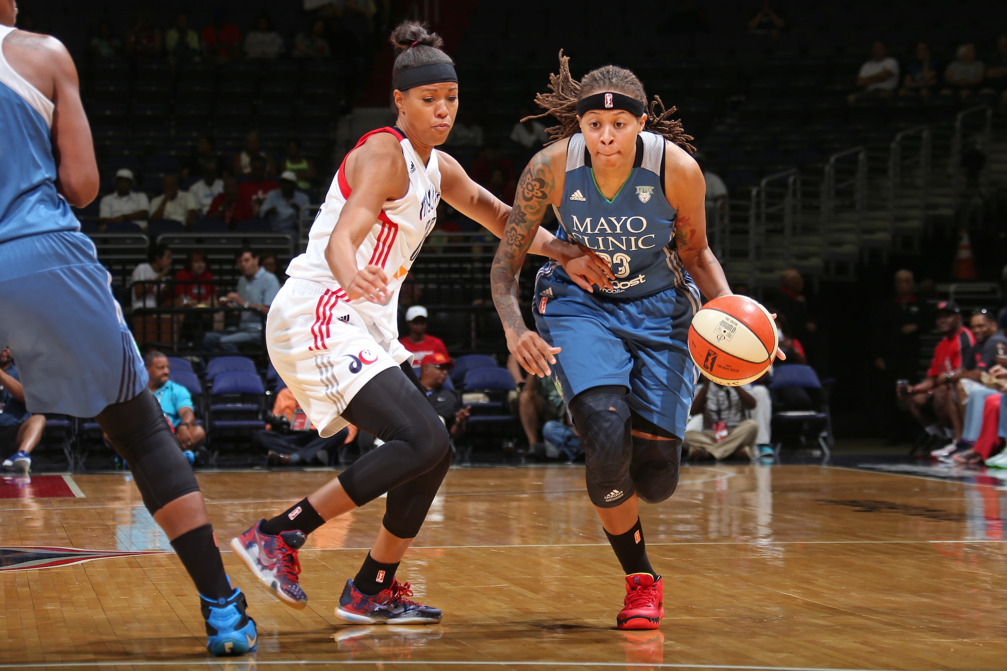 WASHINGTON, DC - AUGUST 16:  Seimone Augustus #33 of the Minnesota Lynx drives to the basket against the Washington Mystics on August 16, 2015 at the Verizon Center in Washington, DC. NOTE TO USER: User expressly acknowledges and agrees that, by downloading and or using this Photograph, user is consenting to the terms and conditions of the Getty Images License Agreement. Mandatory Copyright Notice: Copyright 2015 NBAE (Photo by Ned Dishman/NBAE via Getty Images)