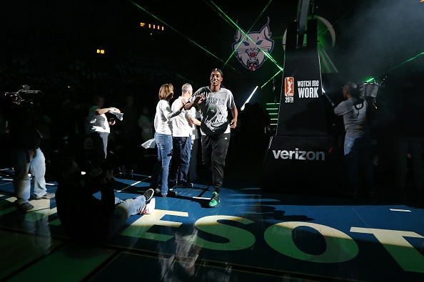 MINNEAPOLIS, MN - MAY 14: Sylvia Fowles #34 of the Minnesota Lynx gets introduced to get her 2015 championship ring before the game against the Phoenix Mercury during the WNBA game on May 14, 2016 at Target Center in Minneapolis, Minnesota. NOTE TO USER: User expressly acknowledges and agrees that, by downloading and or using this Photograph, user is consenting to the terms and conditions of the Getty Images License Agreement. Mandatory Copyright Notice: Copyright 2016 NBAE (Photo by David Sherman/NBAE via Getty Images)