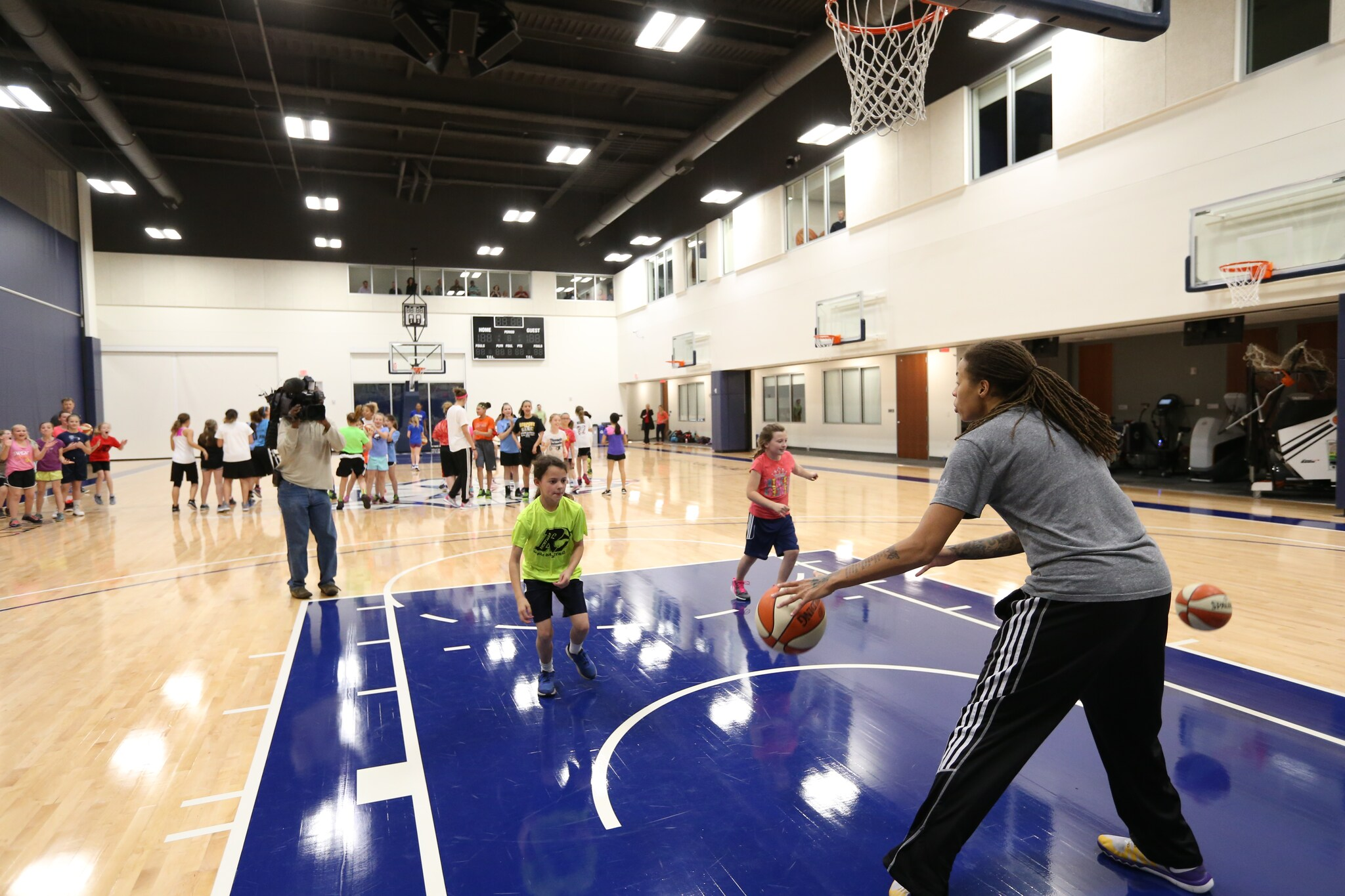 MINNEAPOLIS, MN - MAY 12: Seimone Augustus and Bashaara Graves of the Minnesota Lynx host a Lynx Jr. WNBA Clinic for girls ages 4th thru 9th grade on May 12, 2016 at the Minnesota Timberwolves and Lynx Courts at Mayo Clinic Square in Minneapolis, Minnesota. NOTE TO USER: User expressly acknowledges and agrees that, by downloading and or using this Photograph, user is consenting to the terms and conditions of the Getty Images License Agreement. Mandatory Copyright Notice: Copyright 2016 NBAE (Photo by David Sherman/NBAE via Getty Images)
