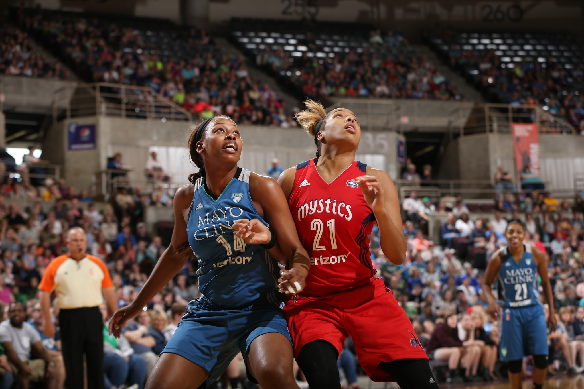 ROCHESTER, MN - MAY 8: Bashaara Graves #14 of the Minnesota Lynx attempts to rebound the basketball against Tianna Hawkins #21 of the Washington Mystics during the preseason game on May 8, 2016 at the Mayo Civic Center in Rochester, Minnesota. NOTE TO USER: User expressly acknowledges and agrees that, by downloading and or using this Photograph, user is consenting to the terms and conditions of the Getty Images License Agreement. Mandatory Copyright Notice: Copyright 2016 NBAE (Photo by David Sherman/NBAE via Getty Images)