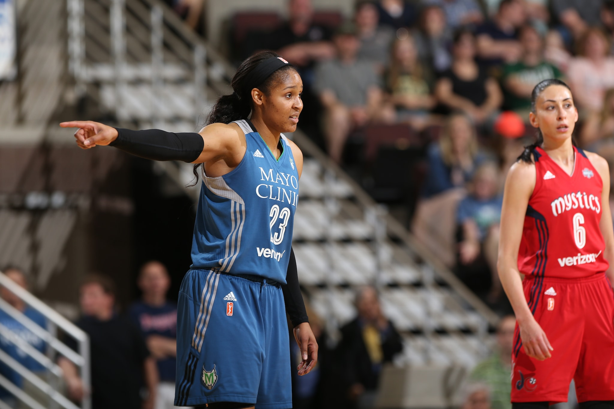 ROCHESTER, MN - MAY 8: Maya Moore #23 of the Minnesota Lynx reacts during the preseason game against the Washington Mystics on May 8, 2016 at the Mayo Civic Center in Rochester, Minnesota. NOTE TO USER: User expressly acknowledges and agrees that, by downloading and or using this Photograph, user is consenting to the terms and conditions of the Getty Images License Agreement. Mandatory Copyright Notice: Copyright 2016 NBAE (Photo by David Sherman/NBAE via Getty Images)