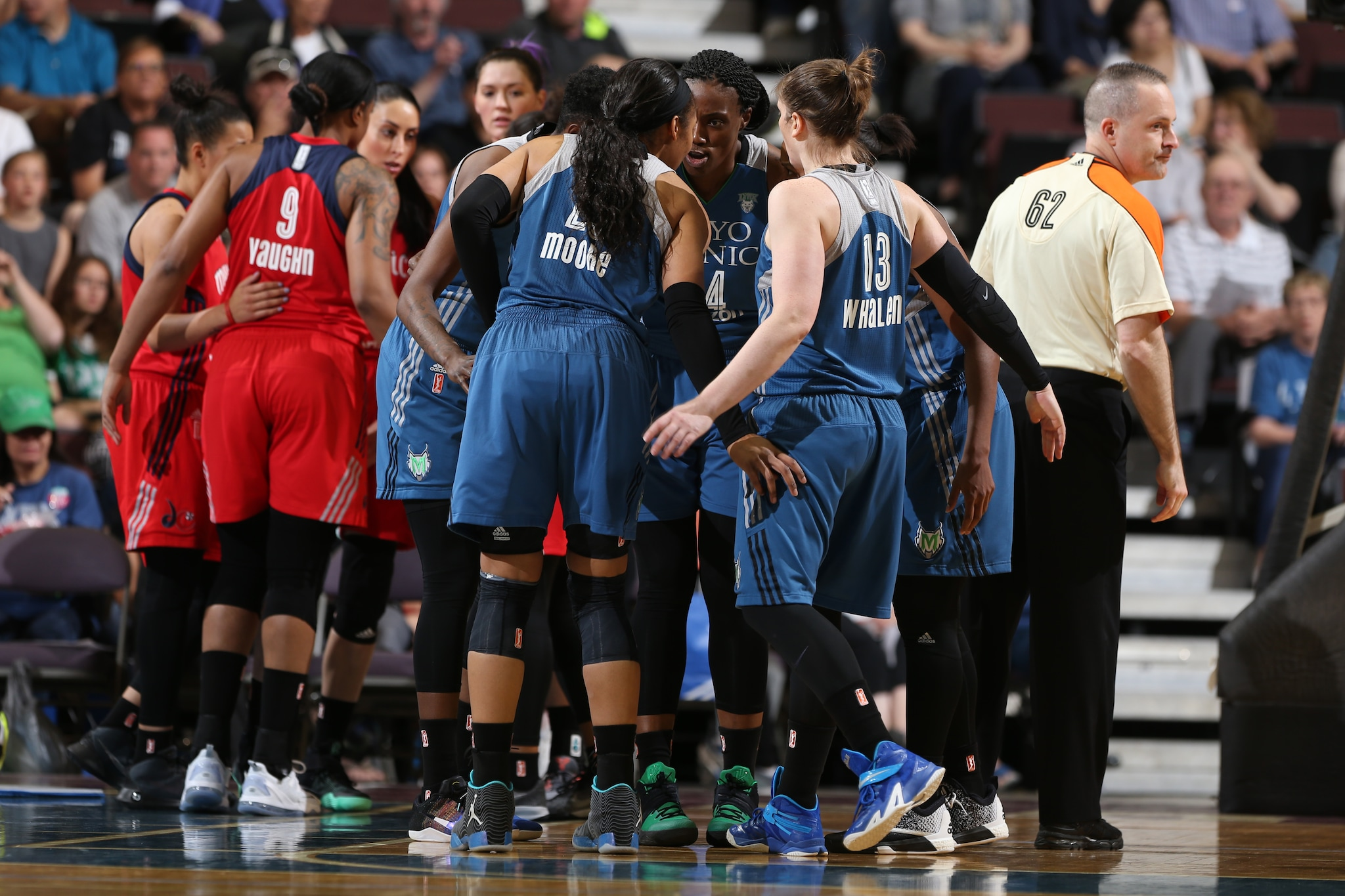 ROCHESTER, MN - MAY 8: The Minnesota Lynx against the Washington Mystics during the preseason game on May 8, 2016 at the Mayo Civic Center in Rochester, Minnesota. NOTE TO USER: User expressly acknowledges and agrees that, by downloading and or using this Photograph, user is consenting to the terms and conditions of the Getty Images License Agreement. Mandatory Copyright Notice: Copyright 2016 NBAE (Photo by David Sherman/NBAE via Getty Images)