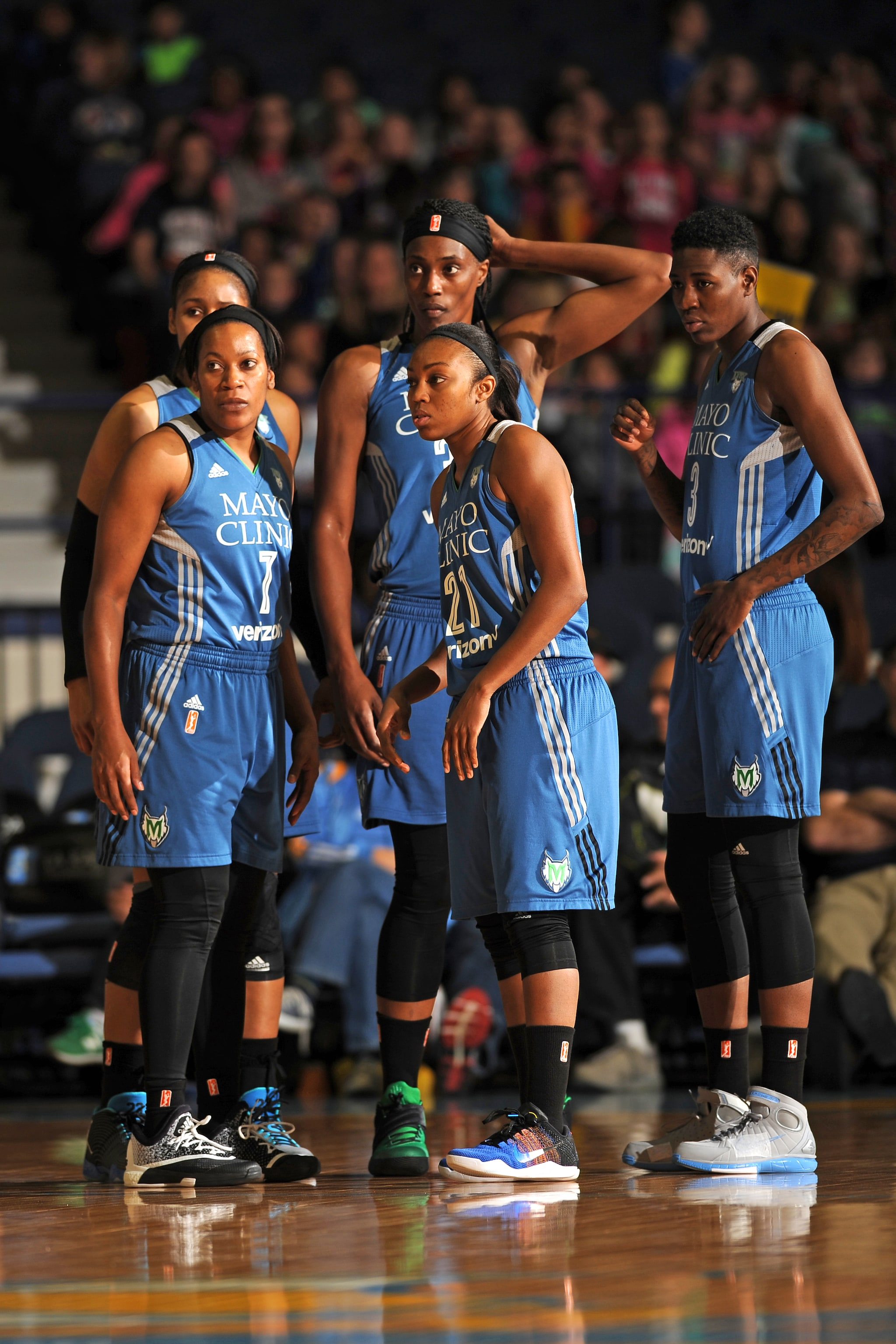 ROSEMONT, IL- MAY 18: The Minnesota Lynx looks on during the game against the Chicago Sky on May 18, 2016 at the Allstate Arena in Rosemont, Illinois. NOTE TO USER: User expressly acknowledges and agrees that, by downloading and/or using this photograph, user is consenting to the terms and conditions of the Getty Images License Agreement. Mandatory Copyright Notice: Copyright 2016 NBAE (Photo by Randy Belice/NBAE via Getty Images)