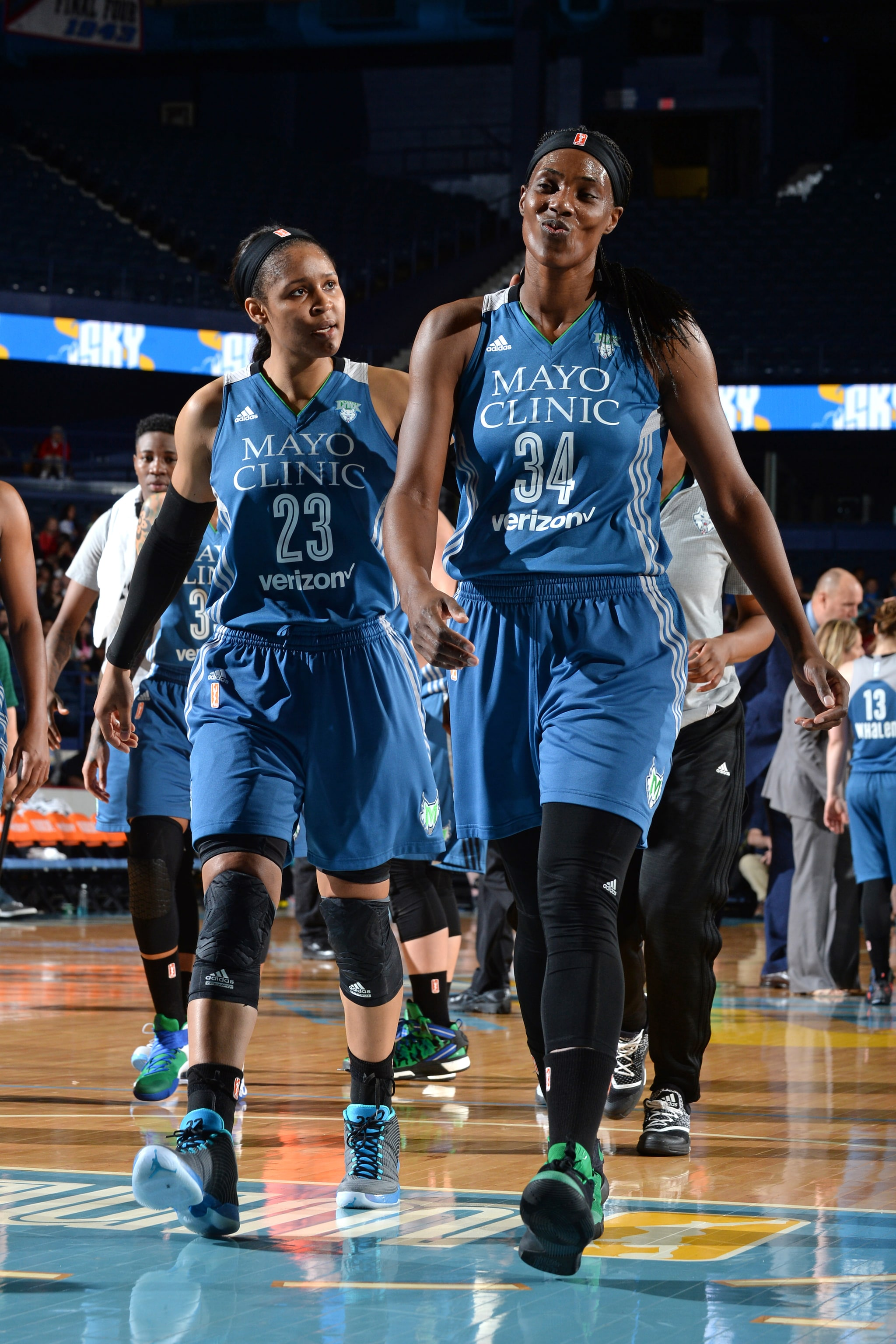ROSEMONT, IL- MAY 18: Maya Moore #23 and Sylvia Fowles #34 of the Minnesota Lynx walk off the court at halftime during the game against the Chicago Sky on May 18, 2016 at the Allstate Arena in Rosemont, Illinois. NOTE TO USER: User expressly acknowledges and agrees that, by downloading and/or using this photograph, user is consenting to the terms and conditions of the Getty Images License Agreement. Mandatory Copyright Notice: Copyright 2016 NBAE (Photo by Randy Belice/NBAE via Getty Images)