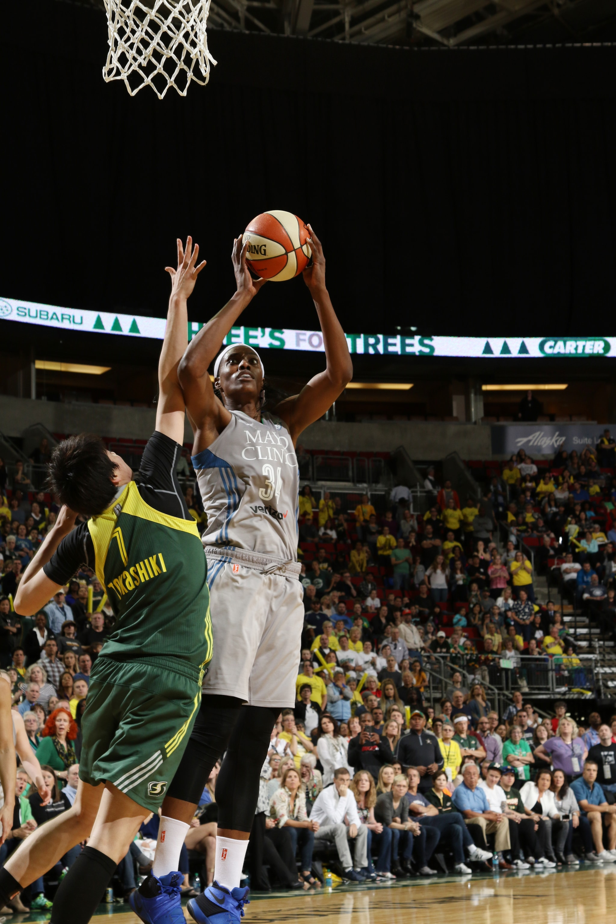 SEATTLE, WA - MAY 22:  Sylvia Fowles #34 of the Minnesota Lynx shoots the ball against the Seattle Storm on May 22, 2016 at KeyArena in Seattle, Washington. NOTE TO USER: User expressly acknowledges and agrees that, by downloading and or using this photograph, user is consenting to the terms and conditions of Getty Images License Agreement. Mandatory Copyright Notice: Copyright 2016 NBAE (Photo by Josh Huston/NBAE via Getty Images)