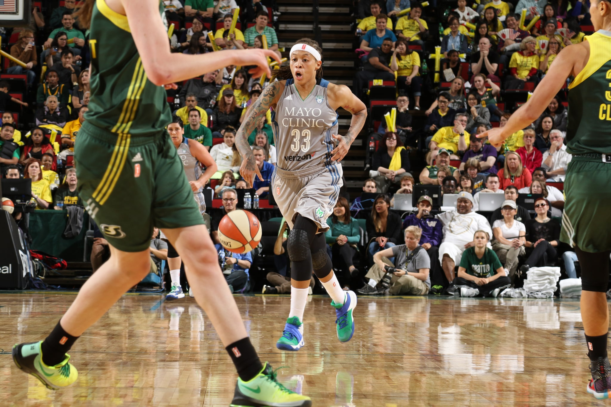 SEATTLE, WA - MAY 22: Seimone Augustus #33 of the Minnesota Lynx handles the ball against the Seattle Storm  on May 22, 2016 at KeyArena in Seattle, Washington. NOTE TO USER: User expressly acknowledges and agrees that, by downloading and or using this photograph, user is consenting to the terms and conditions of Getty Images License Agreement. Mandatory Copyright Notice: Copyright 2016 NBAE (Photo by Josh Huston/NBAE via Getty Images)