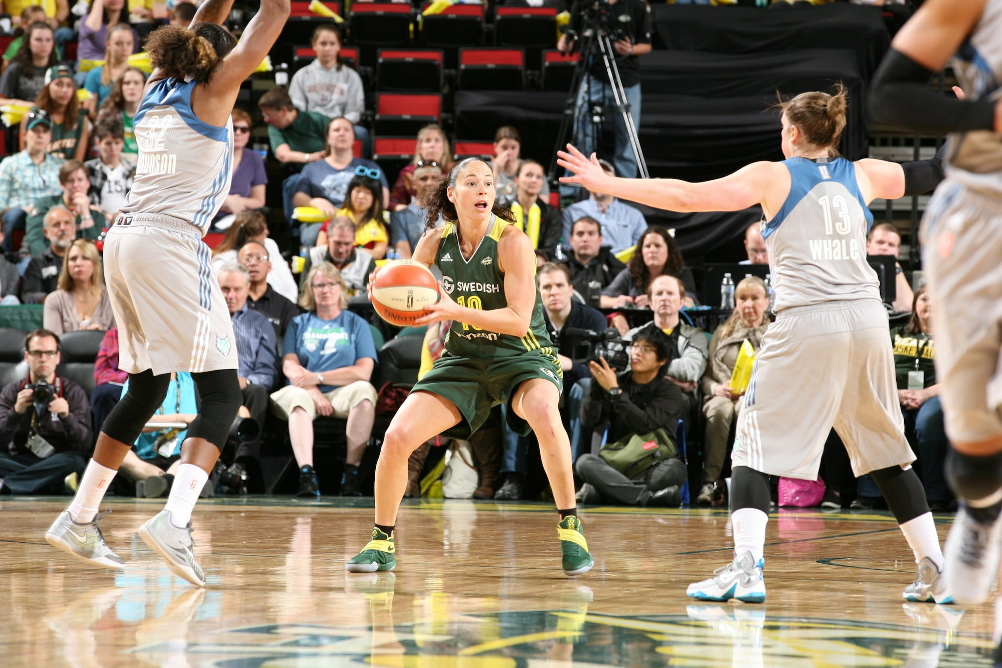 SEATTLE, WA - MAY 22:  Sue Bird #10 of the Seattle Storm handles the ball against the Minnesota Lynx on May 22, 2016 at KeyArena in Seattle, Washington. NOTE TO USER: User expressly acknowledges and agrees that, by downloading and or using this photograph, user is consenting to the terms and conditions of Getty Images License Agreement. Mandatory Copyright Notice: Copyright 2016 NBAE (Photo by Josh Huston/NBAE via Getty Images)