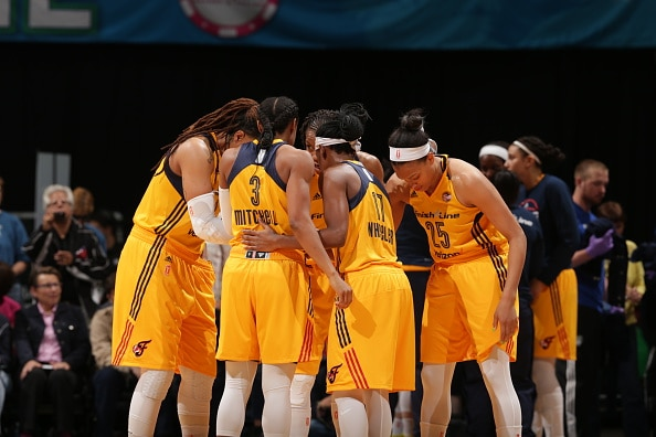 MINNEAPOLIS, MN - MAY 27:  The Indiana Fever huddle during the game against the Minnesota Lynx on May 27, 2016 at Target Center in Minneapolis, Minnesota. NOTE TO USER: User expressly acknowledges and agrees that, by downloading and or using this Photograph, user is consenting to the terms and conditions of the Getty Images License Agreement. Mandatory Copyright Notice: Copyright 2016 NBAE (Photo by Jordan Johnson/NBAE via Getty Images)