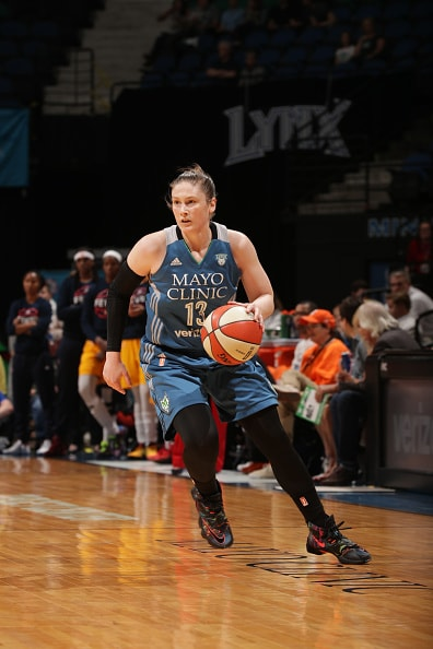 MINNEAPOLIS, MN - MAY 27:  Lindsay Whalen #13 of the Minnesota Lynx dribbles the ball against the Indiana Fever on May 27, 2016 at Target Center in Minneapolis, Minnesota. NOTE TO USER: User expressly acknowledges and agrees that, by downloading and or using this Photograph, user is consenting to the terms and conditions of the Getty Images License Agreement. Mandatory Copyright Notice: Copyright 2016 NBAE (Photo by Jordan Johnson/NBAE via Getty Images)