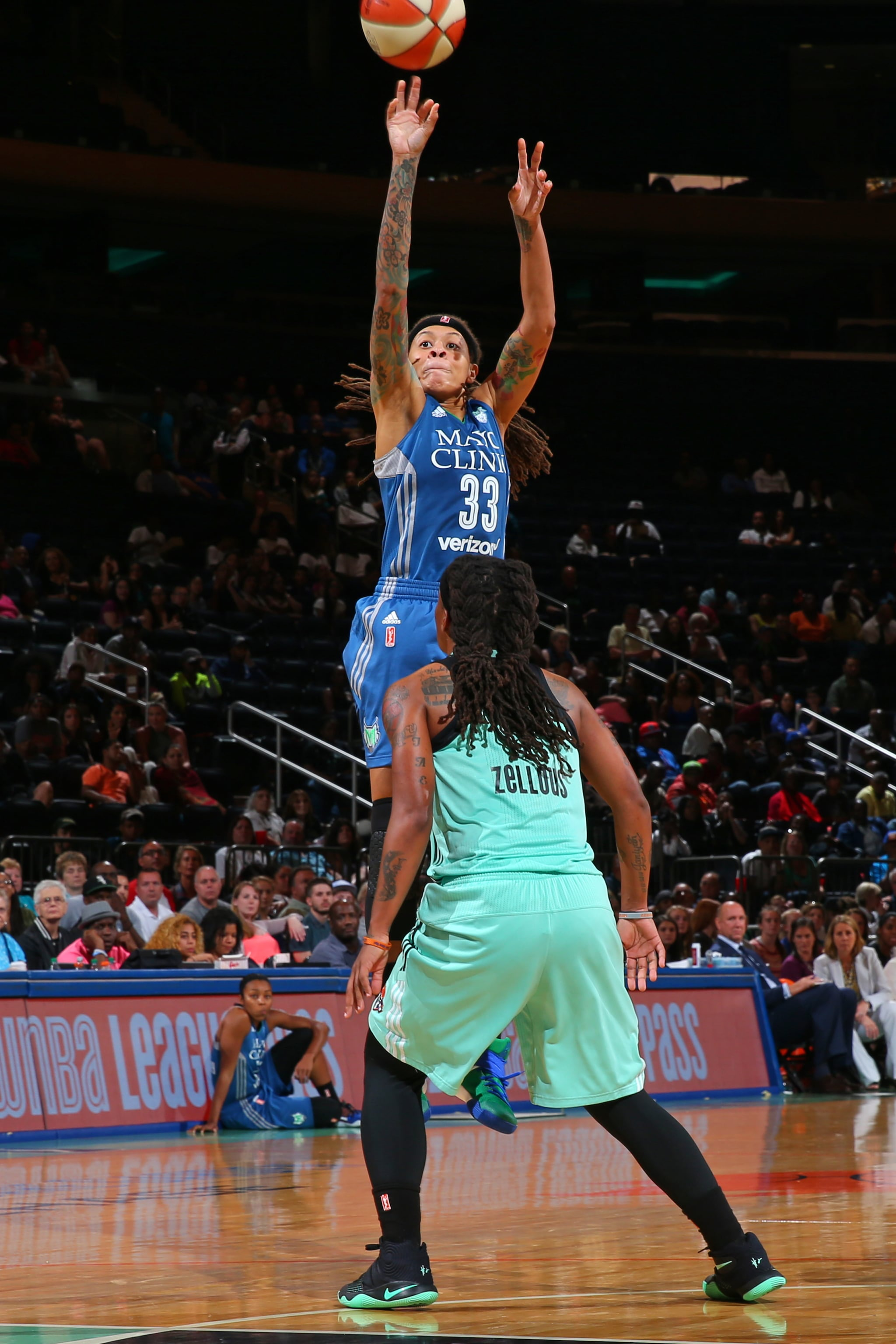 NEW YORK, NY - MAY 31:  Seimone Augustus #33 of the Minnesota Lynx shoots the ball against the New York Liberty during the game on May 31, 2016 at Madison Square Garden in New York, New York. NOTE TO USER: User expressly acknowledges and agrees that, by downloading and or using this Photograph, user is consenting to the terms and conditions of the Getty Images License Agreement. Mandatory Copyright Notice: Copyright 2016 NBAE (Photo by Mike Stobe/NBAE via Getty Images)